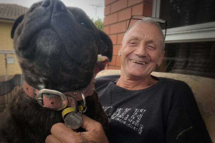 Former Risdon Prison inmate Tony Bull and his dog Princess.