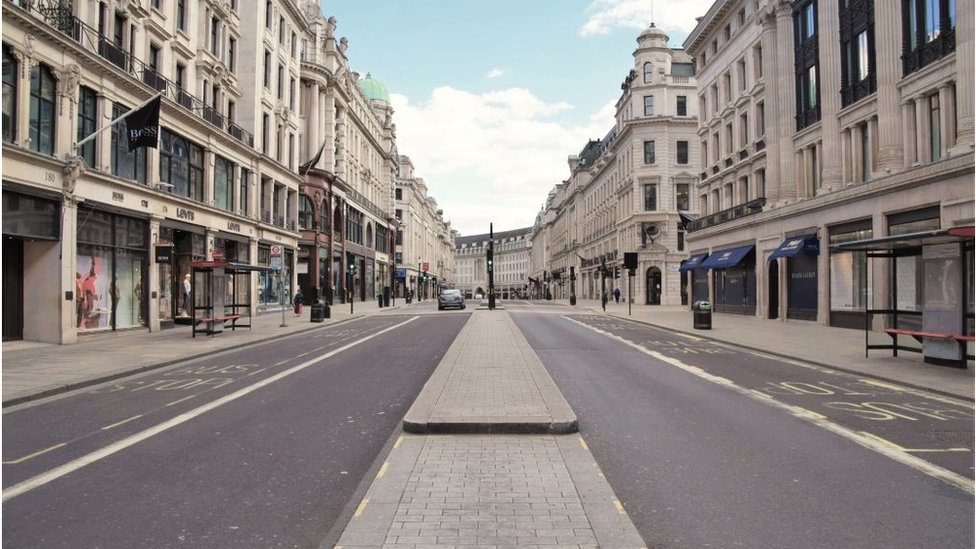 London's usually bustling Regent Street in June.
